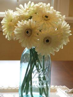 mason jar and flowers