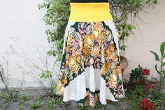 Tellerröcke - Rock Tellerrock grün gelb beige Rosen genäht - ein Designerstück von trixies-zauberhafte-Welten bei DaWanda