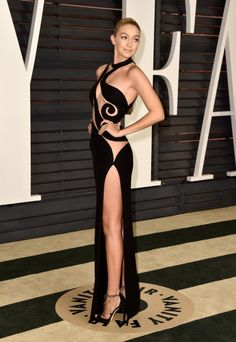 Gigi Hadid style file : Gigi Hadid in Atelier Versace at the Vanity Fair Oscars after party, 2015