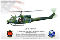 """UH-1N 54thHS-USAF Rough Riders USAF 91st Missile Wing """"Rough Riders"""", 54th Helicopter Squadron Minot AFB, North Dakota The Vietnam War-vintage UH-1N replaced the HH-1H at Minot AFB in 1996. The UH-1N entered the Air Force inventory in 1970 to provide search and rescue capabilities. The missions expanded to include missile, distinguished visitor and survival school support."""