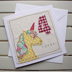 4th Birthday Card Handmade Machine Embroidered Unicorn