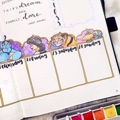 37 amazing disney inspired bullet journal spreads that will inspire your inner creative and inner child. Get disney inspired and creative with these spreads Bullet Journal Vidéo, Bullet Journal Spreads, Bullet Journal Ideas Pages, Bullet Journal Inspiration, Journal Pages, Journal Themes, Disney Inspired, Bubble, Creative