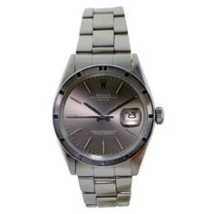 Rolex Stainless Steel Date Oyster Perpetual Charcoal Dial Watch Ref 1501 Rolex - Date Oyster Perpetual Charcoal Dial Watch Ref 1501 Stainless Steel Antique Watches, Vintage Watches, Stainless Steel Rolex, Rolex Oyster Perpetual Date, Rolex Date, Watch Companies, Vintage Rolex, Rolex Watches, Wrist Watches
