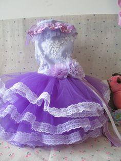 Товаров для домашних животных обычай одежды собаки любимчика платья для домашних животных Одежда для животных великолепный фиолетовый гибискус свадьбу - Taobao