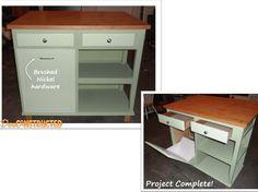 Desk converted to kitchen island