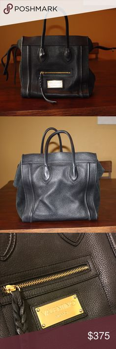Valentino By Mario Valentino Cynthia Leather Tote Genuine leather exterior. Suede lining. Some visible signs of use on the lining, no damage or discoloration to the outside leather. Overall, in very good condition. Valentino Bags Totes