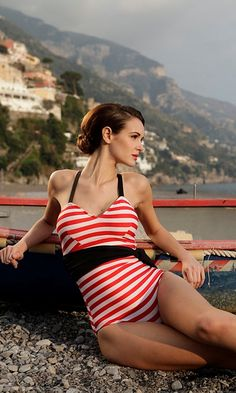 #Dreaming of a #VSPINK #Summer #LOVE #PINK #retro #swimsuit #nautical #red #white #stripes #black #straps