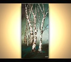 48 x 24 ORIGINAL Abstract Birch Trees Painting by OsnatFineArt, $450.00