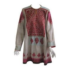 Late 19th Century Embroidered Linen Nomad Dress