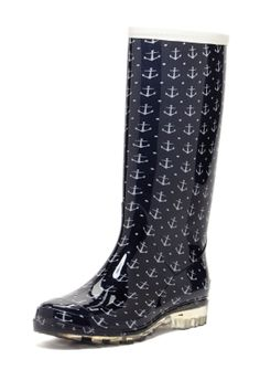 BootsiTootsi Anchor Print Tall Rain Boot -- digging the clear sole!