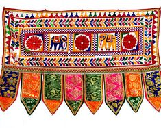Vintage Door Valance Hand Embroidered Door Topper Curtain Wall Hanging Home Decor Tapestry 40 x 22 Inches Radhe Krishna, Indian Embroidery, Hand Embroidery, Mehndi Designs, Gold Jewellery, Kurti, Diy Crafts, Traditional, Wool