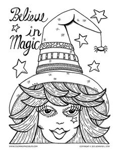 halloween coloring page for adults and grown ups believe in magic charming witch with