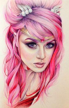 kelly eden paintings - ❤️vanuska❤️ John Kenn, Kelly Eden, Audrey Kitching, Expressive Art, Art Sketchbook, Pink Hair, Sailor Moon, Character Art, Cute Pictures