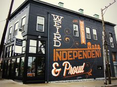 """The Highlands. Weird independent & proud = Bryan Patrick Todd (graphic designer) and Kirby Stafford (sign painter) created """"The Highlands"""" mural on The Wine Market building on Bardstown Road in Louisville, KY. Inspiration Typographie, Typography Inspiration, Design Inspiration, Web Design, Graphic Design, Type Design, Design Art, Foyer Design, Grid Design"""