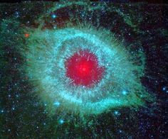 "An infrared photograph of Helix Nebula in deep space, part of ""The History of Space Photography"" at Art Center College."