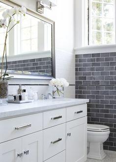 Beguiling Grey Glass Subway Tile Backsplash Image Gallery In Bathroom  Transitional Design Ideas With Beguiling Bathroom Bathroom Mirror Classic  Bathroom ...