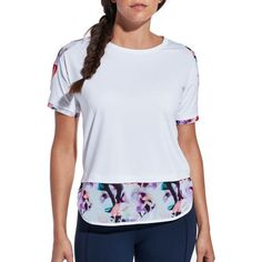 Overcome any obstacle in style the CALIA™ by Carrie Underwood Women's Printed Fashion T-Shirt. Luxuriously smooth fabric offers comfort while also wicking away moisture and fighting off natural odors quickly. Placed mesh pieces ensure ultimate breathability where it counts, and a long, curved hem layers perfectly with your favorite pieces. Live in the moment and look good doing it with the CALIA™ Printed Fashion T-Shirt.