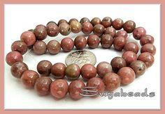 1- 15.5 inch Strand of Rhodonite Gemstone Beads