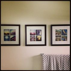 """Instagram photos as decor.  also, link for printing 24 4"""" instagram photos for $12.  12x12 frames.  Perfect mats with 8x8 openings."""