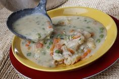 The Cafe's chicken pot pie soup Recipe. It's amazing I crumbled pie crust on top instead of serving with biscuits Chicken Pot Pie Soup Recipe, Kinds Of Soup, Pie Crumble, Copycat Recipes, Soup And Salad, Soups And Stews, The Best, Yummy Food, Favorite Recipes