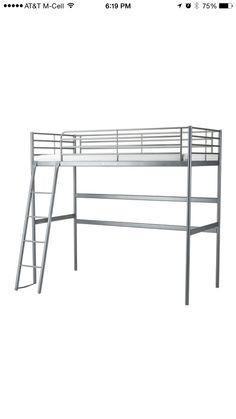 Classic silver metal IKEA SVARTA loft bed.
