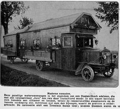 {loose google translation}: Modern nomads. This cozy motor caravan is owned by an Austro nobleman, whose movable house makes a journey through Germany. In the car there is a lounge and kitchen downstairs, while the respective bedrooms on the second floor. At the back we see the trailer, which the commission is housed. The bodywork proposes a cottage for Tiroolsch; living flowers adorn the...