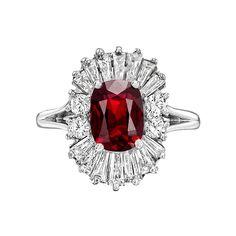 Estate Collection Ruby & Diamond 'Ballerina' Ring