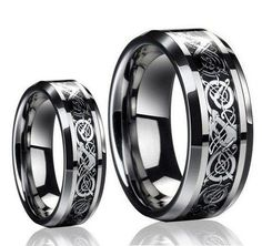 His & Her's 8MM/6MM Dragon Design Tungsten Carbide Wedding Band Ring Set (Available Sizes 5-14 Including Half Sizes) Please e-mail sizes	by Tungsten Ring Set
