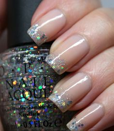 Nude Polish and Glitter Tips.
