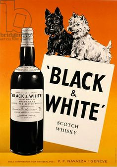 Poster advertising 'Black and White' Scotch Whisky, published by R. Marsens, Lausanne, c.1950 (colour litho)