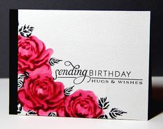 Amusing Michelle: Im celebrating! Love this birthday sentiment nestled with corner of flowers.