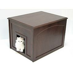 Crown Pet Espresso Cat Hidden Kitty Litter Cabinet End Table - 13940881 - Overstock.com Shopping - The Best Prices on Crown Products Litter Boxes