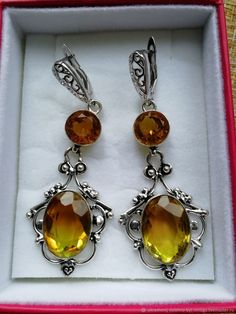 Materials: Citrine stone, alpanite stone, jewelry alloy, 925 silver, laboratory stone Size: Earrings length 70 mm., Large stone 18 - 15 mm. Free worldwide shipping Handmade product #handmade 925 Silver Earrings, Stone Jewelry, Handmade, Free, Products, Hand Made, Gadget, Handarbeit