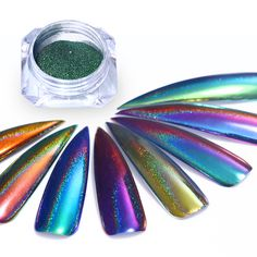 Peacock Chameleon Holo Laser Mirror Glitter Powder Holographic Nail Art Chrome Pigment Dust Powder UV Gel Polish DIY Decoration