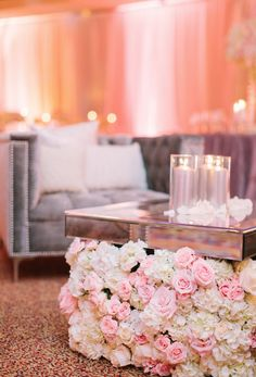 reception gallery; pink board; Featured Photographer: Gina Meola Photography