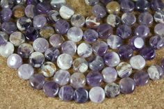 Dogtooth Amethyst Smooth Coin Purple White 10mm 15.5 by ABOSBeads, $8.99