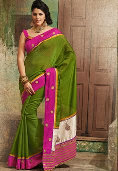 Beautiful !Green #Bhagalpuri Saree designed with Zari, Resham Embroidery and patch patta Work. As shown Pink #Dhupion Blouse fabric is available which can be customized as per requirements.  With exciting Flat 30% discount! INR :-3535
