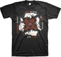 Our Red Hot Chili Peppers men's 100% black cotton t-shirt spotlights the album cover artwork from Blood Sugar Sex Magik, which featured some of the band's biggest hits, including Under the Bridge, Give It Away, Suck My Kiss and Breaking the Girl, and catapulted the Chili Peppers to world wide acclaim. Selling over 13 million copies, Blood Sugar Sex Magik is considered, by some critics, to be the best Chili Peppers album, ever. #redhotchilipeppers #anthonykiedis #flea #bandtees #rockerrags