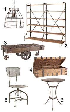 The Look for Less: French Industrial pendant light, open bookcase Industrial Chic, French Industrial Decor, Industrial Living, Industrial Interiors, Industrial Furniture, Design Industrial, Reclaimed Furniture, Industrial Lamps, Refinished Furniture