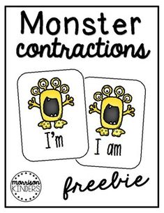 *This is a freebie version and contains 10 matching cards. Please see the full version of Monster Contractions packet in my store. Contractions can really be a MONSTER! Help your stude First Grade Phonics, First Grade Activities, Word Work Activities, First Grade Reading, First Grade Classroom, Montessori Activities, Classroom Activities, French Language Learning, Language Arts