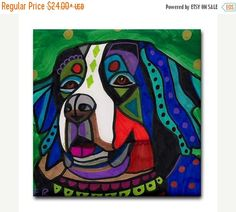60% Off Today- Bernese Mountain Dog art Tile Ceramic Coaster Mexican Folk Art Print of painting by Heather Galler dog (HG176)