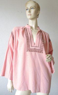 Tuniken - handbestickte leichte Baumwollbluse (Tunika) - ein Designerstück von Na-nett-e bei DaWanda