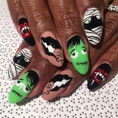 #Halloweennails cute #blackgirlnails
