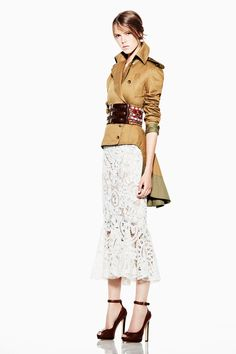 """Alexander McQueen RTW """"Resort 2012"""". Not too enamoured with the skirt, but love the jacket. And shooz."""