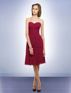 Cranberry Bill Levkoff bridesmaid dress, cocktail length, with sweetheart neckline.