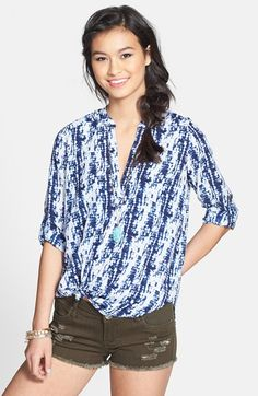 Lush Roll Tab Sleeve Woven Shirt (Juniors) available at #Nordstrom