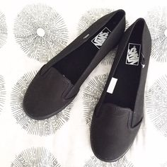 Black Vans Loafers Brand new with box. First picture filtered. Women's size 9.5 or men's size 10. Vans Shoes