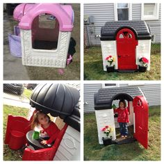 Repainted my kids' plastic playhouse. Took a couple of days and about 10 total cans of spray paint.
