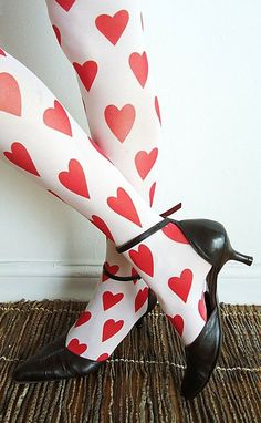 ♡ Your Heart is Mine, Valentine ♡ heart tights - LOL, these remind me of Alice in Wonderland! My Funny Valentine, Valentines Day, Saint Valentine, Valentine Heart, Lizzie Hearts, Red Hearts, Sweet Hearts, Heart Tights, Queen Of Hearts Costume