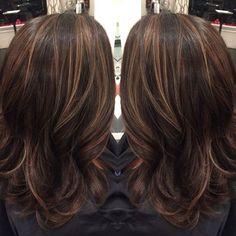 Caramel Highlights on Dark Brown Hair